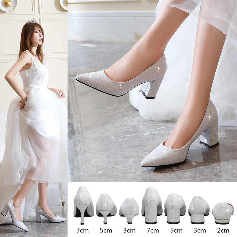 Sequin shoes wedding shoes womens high heeled bride shoes wedding dress thick heeled Bridesmaid shoes banquet flat heeled stage performance shoes Silver