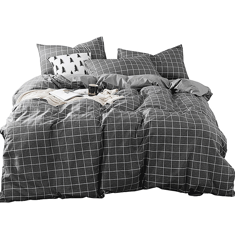 简约格子条纹纯棉四件套床上用品全棉床单被套4件套床笠式1.8m