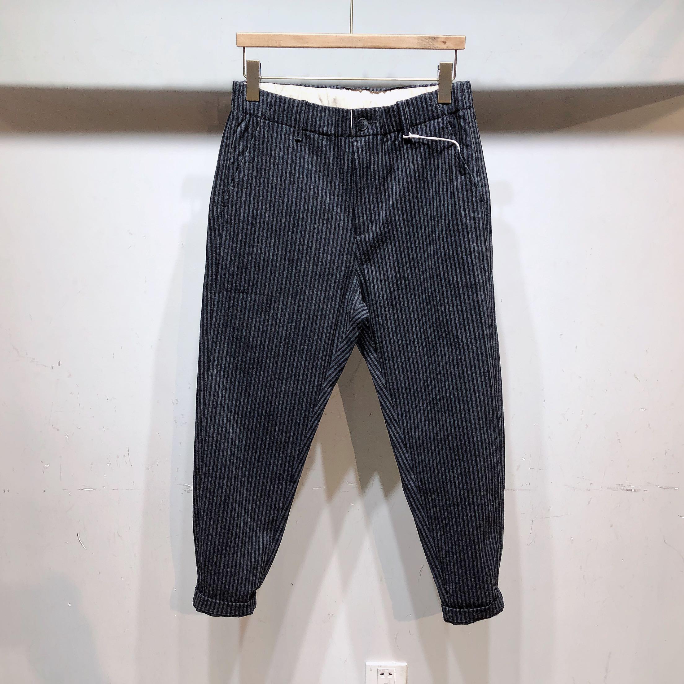 2019AVH秋冬新款男士条纹休闲长裤百搭松紧腰修身韩版潮流小脚裤