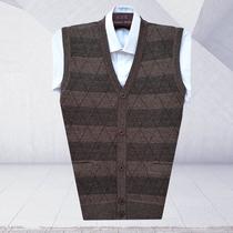 秋冬季新款中年针织毛衣背心马甲男士开衫中老年大码坎肩男装爸爸