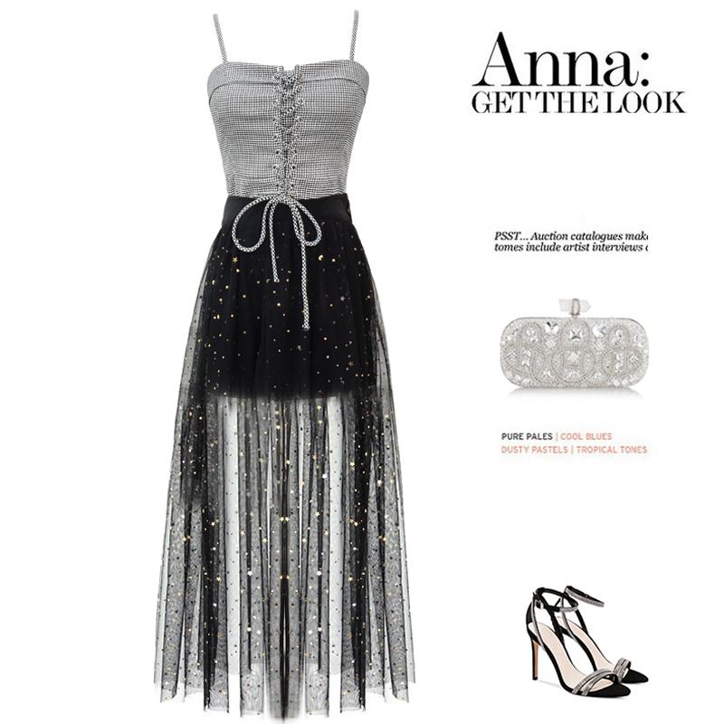 10月14日最新优惠夏两件套气质女神范吊带网纱半身裙