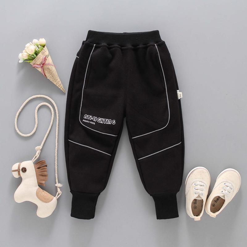 Famla 2020 xiner childrens Plush Pants Boys low waist winter reflective double faced Plush pants childrens casual pants