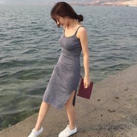 中长款吊带裙女秋冬修身性感包臀针织裙背心长裙紧身连衣裙打底裙