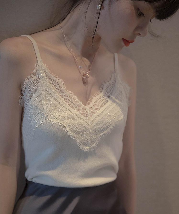 白色蕾丝背心女针织无袖打底西装小吊带内搭外穿潮性感v领上衣夏