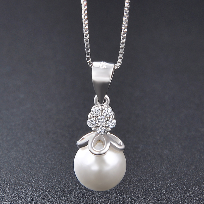 Freshwater S925 full body Sterling Silver Necklace Shell Pearl Pendant single genuine without chain size 2021 NEW