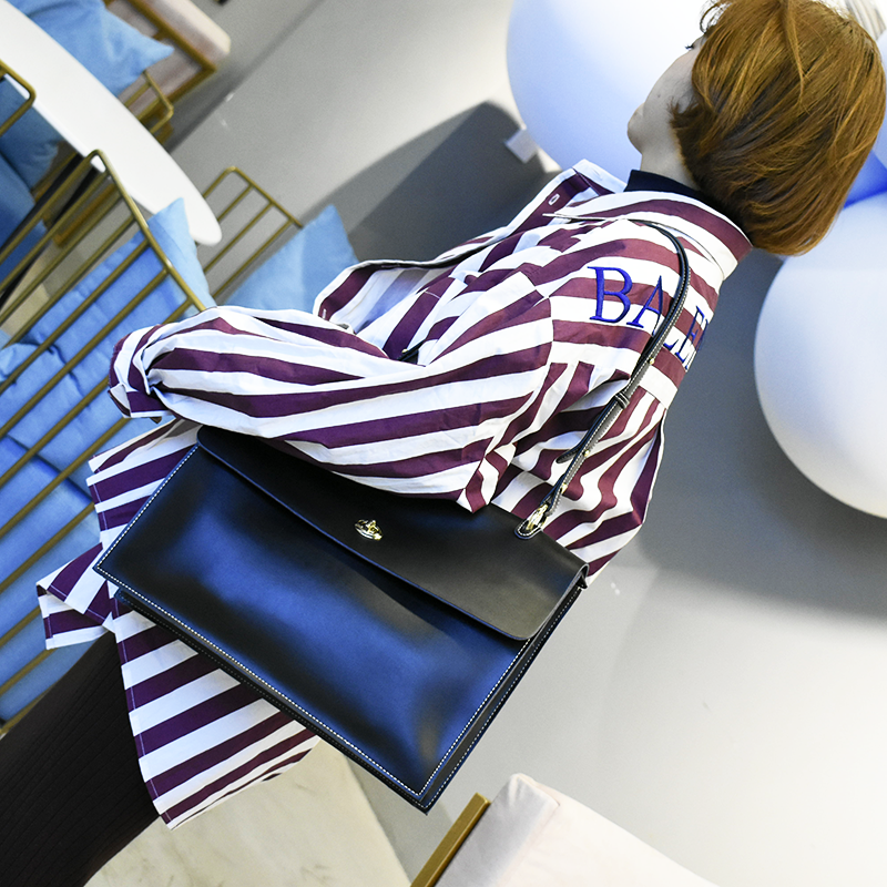 Leather bag 2019 new net red cowhide retro simple one shoulder bag commuter style tofu package postman