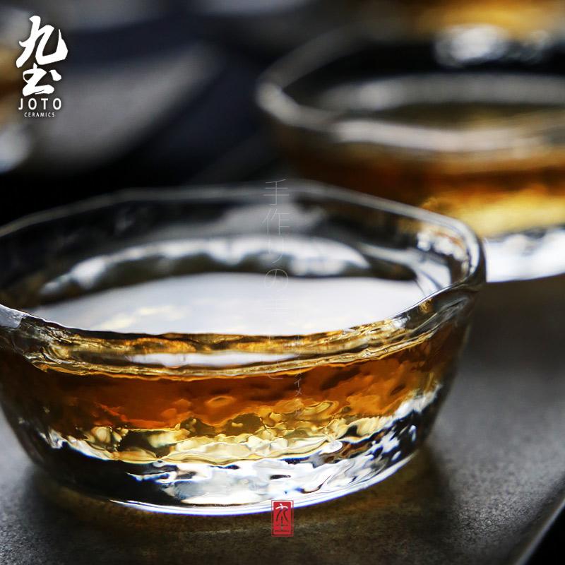 九土 純 玻璃品茗杯 功夫茶具待客茶杯 日式淺圓錘目紋品茗杯
