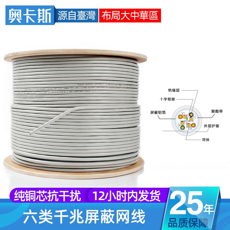 奥卡斯六类千兆屏蔽网线6类室外无氧纯铜电脑宽带家用100米20m300