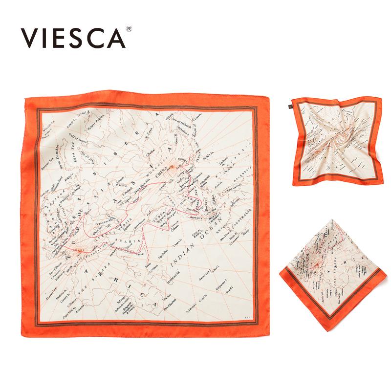 viesca海上丝路地图创意早春小方巾热销10件假一赔十