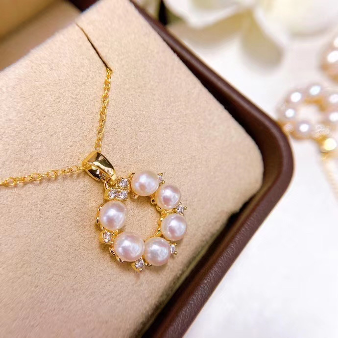 Natural freshwater pearl classic and beautiful super lovely Pendant 14K Gold super color retaining doughnut Necklace