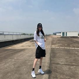 工装短裤女夏季2020年新款宽松直筒潮ins中裤高腰港味运动五分裤图片