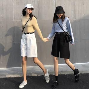 工装短裤女宽松白色中裤2020新款夏季高腰外穿休闲直筒港味五分裤
