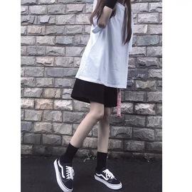 2020年新款宽松黑色短裤女夏季bf高腰运动休闲中裤五分裤直筒港味图片