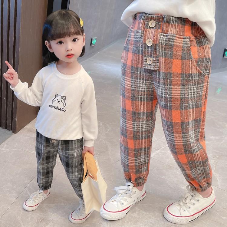 女童裤子春秋外穿1-7岁宝宝格子裤女孩小童长裤6加绒儿童装休闲裤