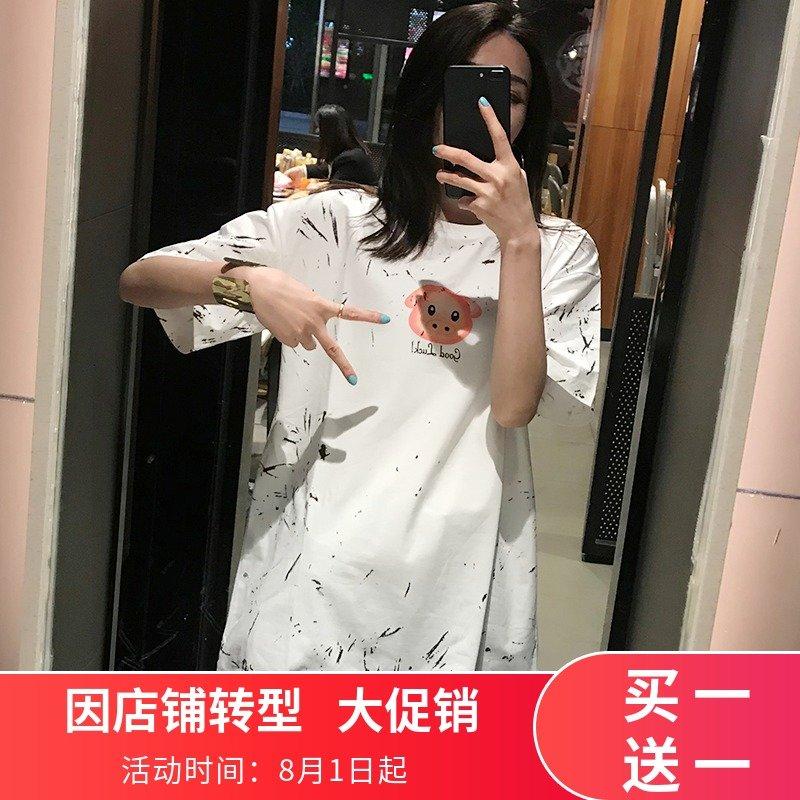 欧货INS潮牌彩虹小猪大版短袖T恤2019夏装新款网红日历体恤女