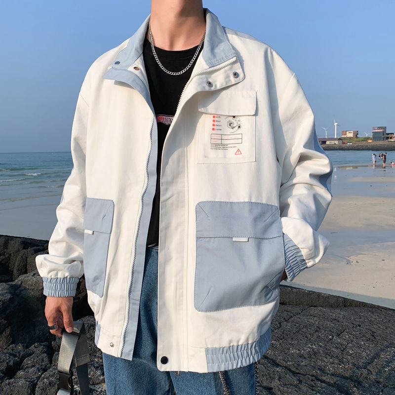Ins trendy autumn coat male student Korean work jacket BF style boy trendy cool loose baseball uniform
