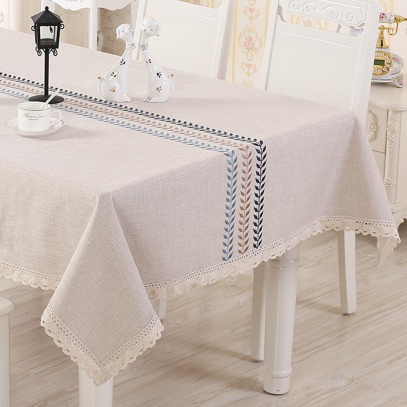 长方形简约正方形亚麻棉茶几餐桌布