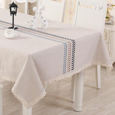 桌布布艺棉麻长方形台布简约正方形欧式亚麻棉茶几餐桌布北欧家用