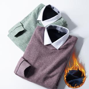 這貨比較特別好看 加絨更暖 冬季新品襯衫領針織衫男加厚假兩件冬