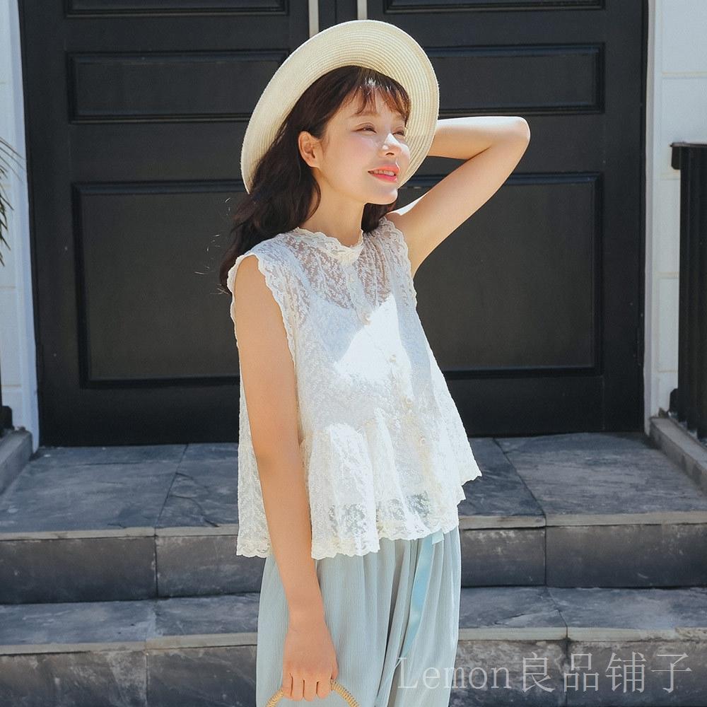 夏季�n版甜美小清新小�A�I�o袖蕾�z衫�^花�U空荷�~�下�[蕾�z上衣