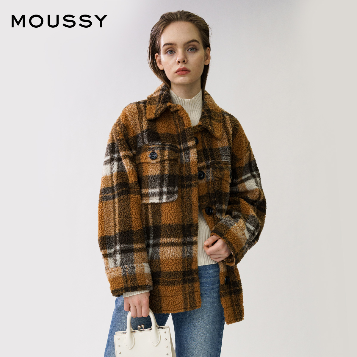 MOUSSY 2020 winter new product lapel fleece check casual jacket coat 028DAE30-5130