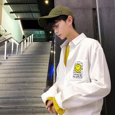 2018秋季新款青少年学生休闲纯色长袖衬衫衬衣男潮 H130/50