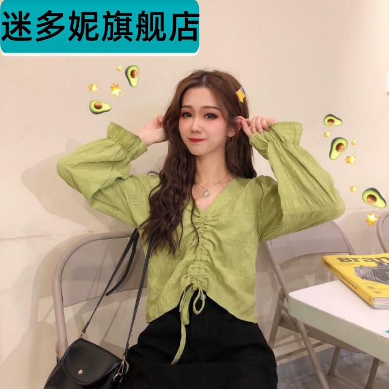 Summer 2020 new drawstring V-neck lace up trumpet sleeve long sleeve shirt girly look wear top short sleeve thin