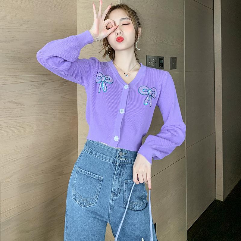 2020初秋女装新款长袖V领修身显瘦甜美俏皮针织开衫女短款薄外套