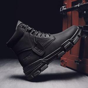 秋冬季男鞋马丁靴男靴子雪地靴高帮工装黑色军靴皮靴加绒保暖棉鞋