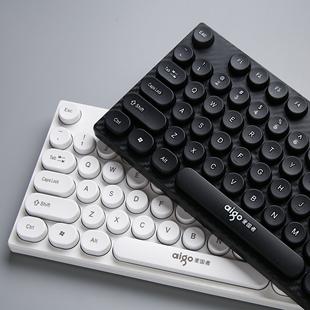 笔记本通用 爱国者静音无声低音键盘复古朋克圆点有线USB接口台式