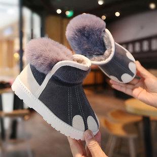 儿童雪地靴女童防水防滑中大短靴子男童2019冬季新款加绒小童棉鞋