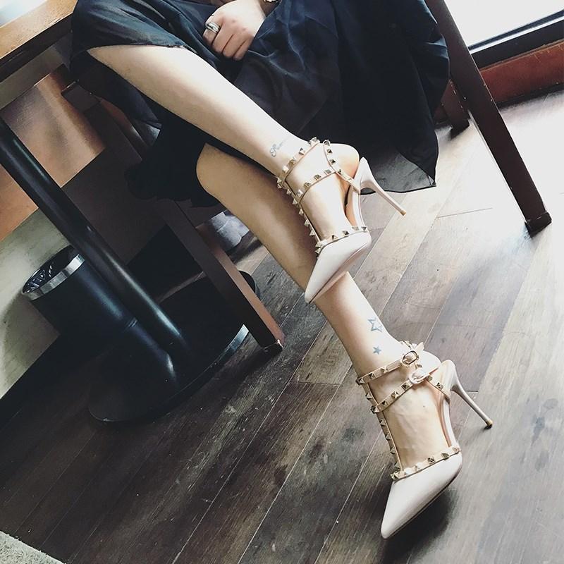 铆钉高跟鞋女夏季细跟性感柳丁百搭尖头单鞋女2019新款春款女鞋子