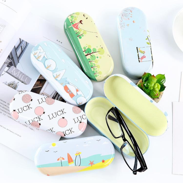 韩国卡通眼镜盒小清新简约女孩中学生框架近视眼镜收纳盒防摔压