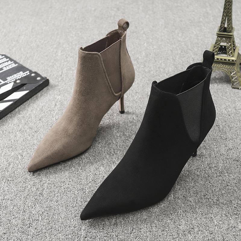 欧洲站女鞋2020秋季新款欧货真皮加绒尖头细跟高跟切尔西靴短靴女