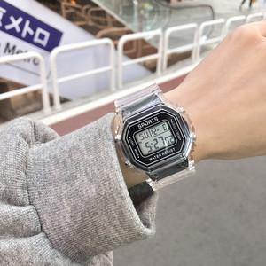 黑色小方块手表少女ins韩版简约初高中学生独角兽防水儿童电子表