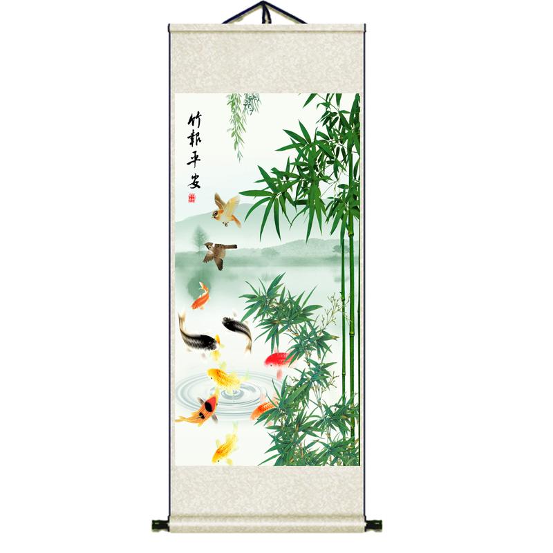 絲綢禮品名家書畫竹子九魚掛畫竹報平安荷花掛畫裝飾酒店玄關壁畫