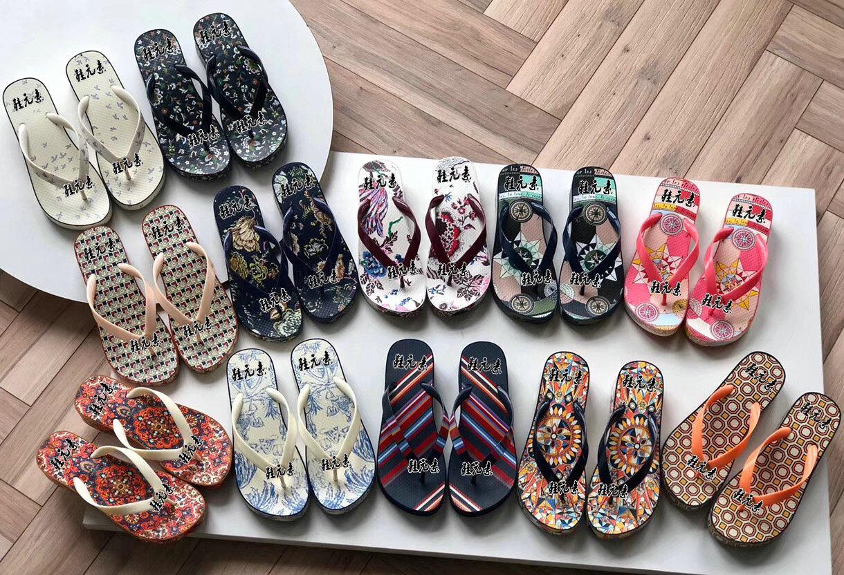 原厂时尚厚底坡跟人字拖鞋女2019新款外穿松糕防滑凉拖鞋沙滩鞋潮