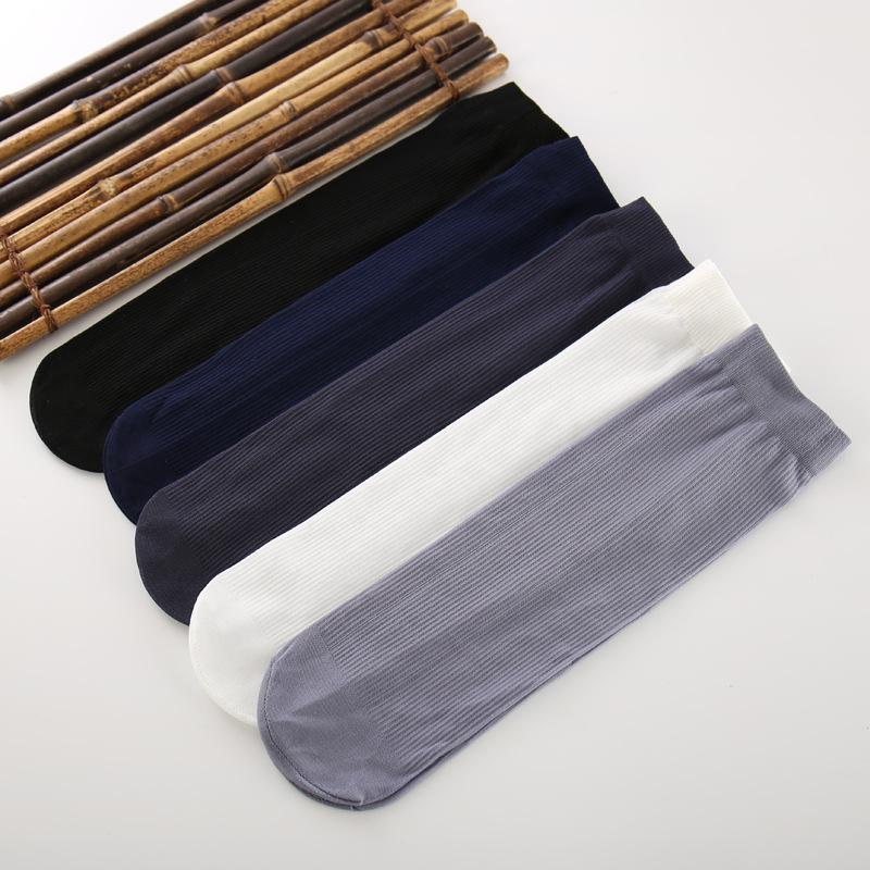 网红袜子男夏季短袜中筒超薄款丝袜男商务袜一次性袜子黑白色防臭