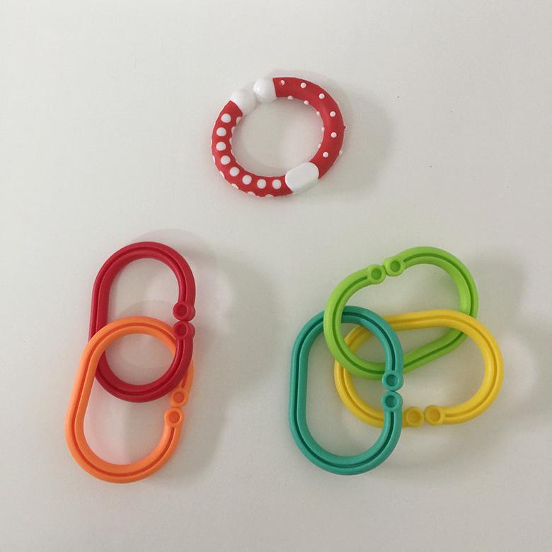 彩虹串串环宝宝床挂玩具防掉环婴儿QQ彩虹圈连环胶圈手抓环