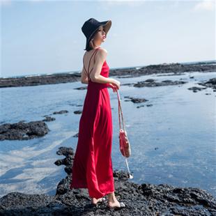 2020新款女夏性感海邊度假沙灘長裙黑色吊帶露背小心機漏背連衣裙