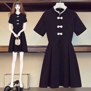 大码女装2021夏季新款复古盘扣改良旗袍显瘦遮肚时尚连衣裙,女装大码女装,尚亿大码女装