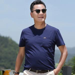 純棉帶口袋男士短袖T恤衫圓領寬松薄款爸爸夏天中老年人男裝衣服