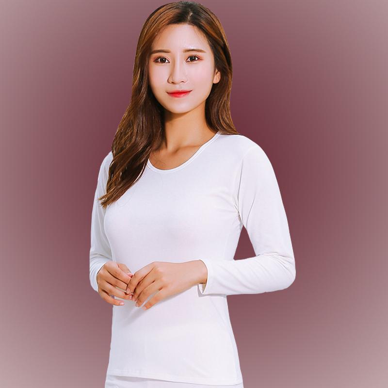 秋衣女士土全棉內衣薄款純色修身線衣單件上衣大領打底衫大碼白色