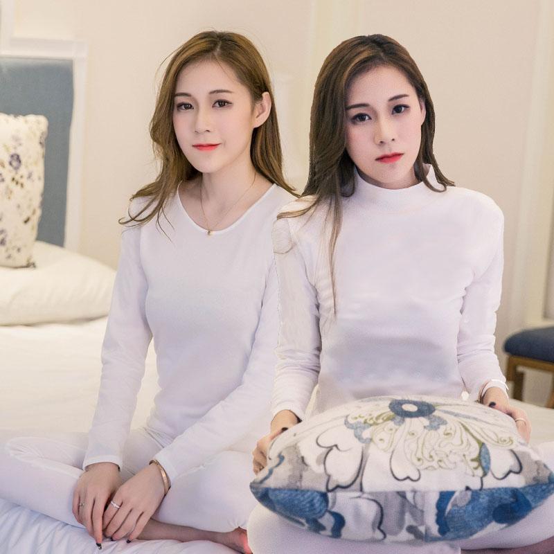 女莫代爾秋衣秋褲圓領薄款薄絨保暖內衣中高領打底衫寬松套裝白色