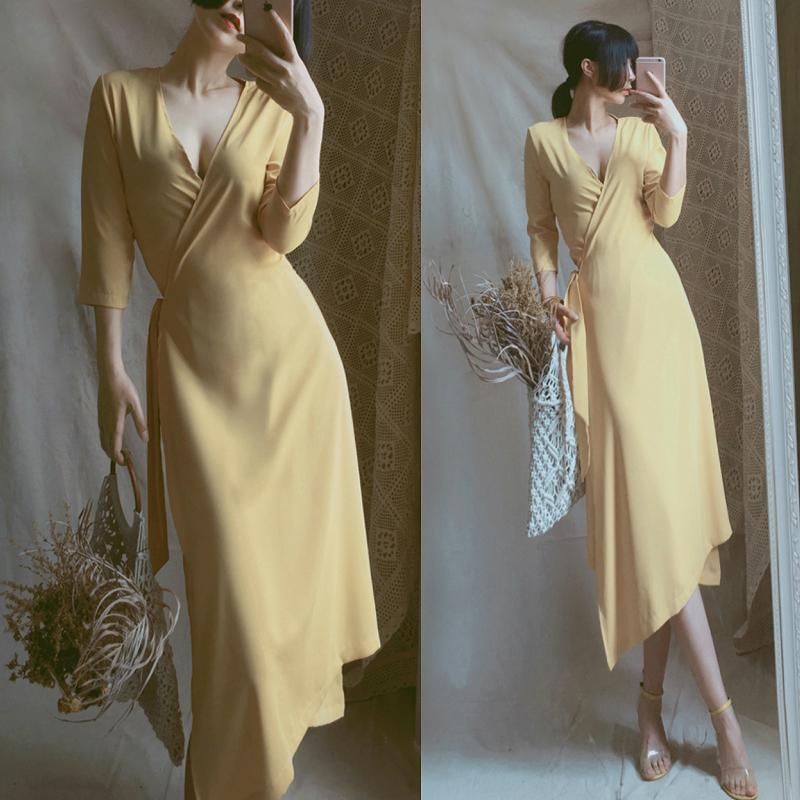 胖妹妹夏装新款大码女装宽松遮肚显瘦性感V领雪纺长裙连衣裙200斤
