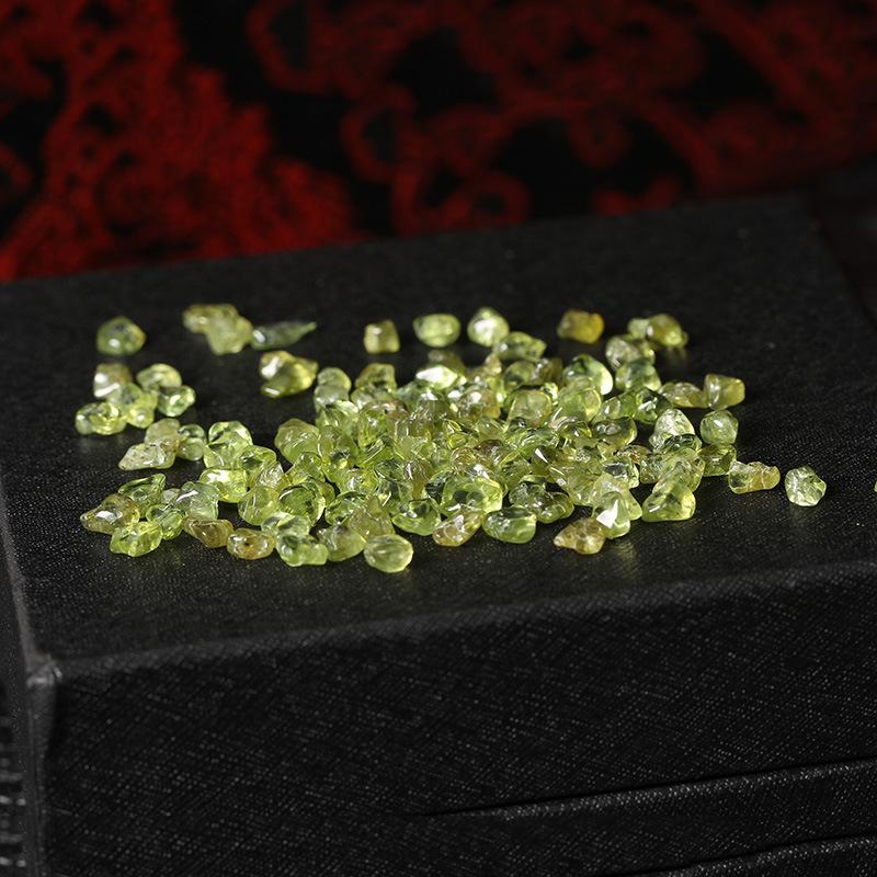 精品优质橄榄石消磁净化碎原石颗粒鱼缸铺底摆件装饰花盆造景