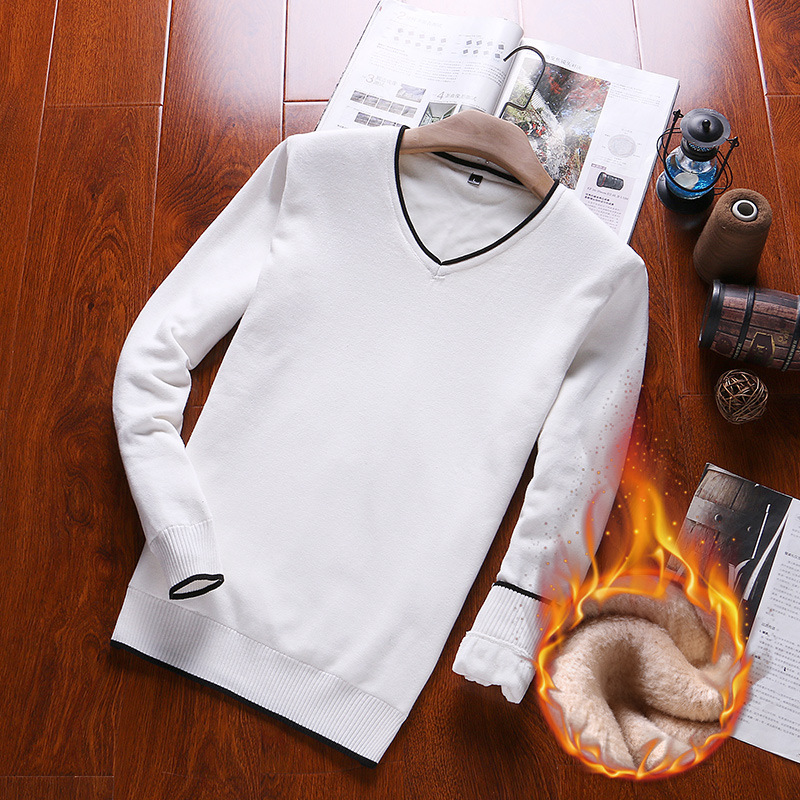 Autumn and winter Plush mens sweater Korean version solid color Pullover V-Neck Sweater fashion casual youth fashion bottoming shirt