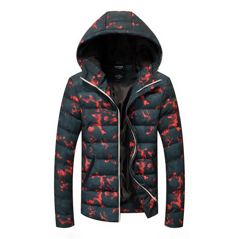 Mens warm and thickened large hooded cotton padded jacket