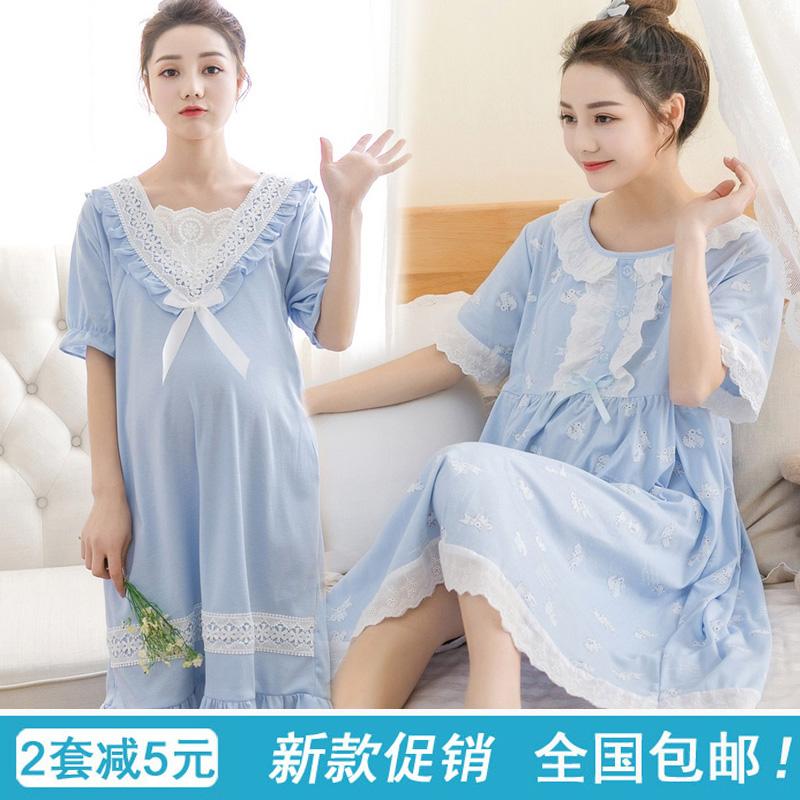 孕妇睡裙女夏季产后哺乳期喂奶连衣裙坐月子睡衣纯棉孕妇夏装睡裙
