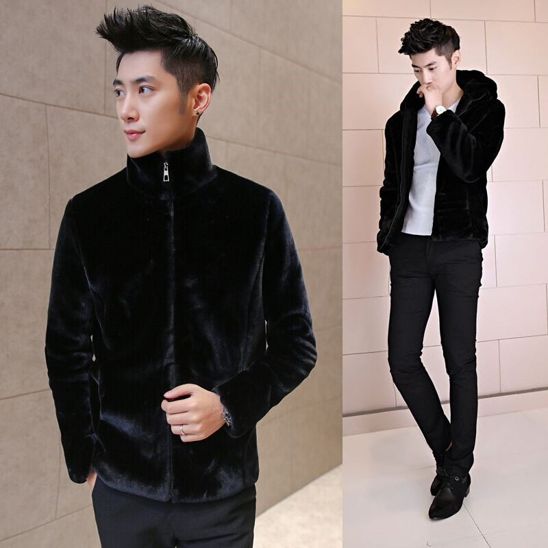 Winter students cotton padded clothes, mens clothes, teenagers fashion jacket, mink like fur grass thickened clothes